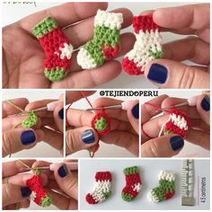 Mini botitas o media Crochet Art, Crochet Doilies, Diy Christmas Ornaments, Holiday Crafts, Crochet Christmas, Afghan Crochet Patterns, Crochet Stitches, Crochet Beanie, Crochet Earrings