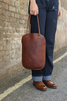 SALE Was 230.00 Now 180.00 Handmade Leather Tote. by skinANDawl