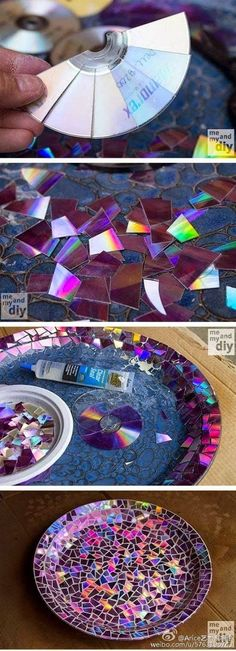 Recycled dvd/cd mosaic bowl, duitang.com.