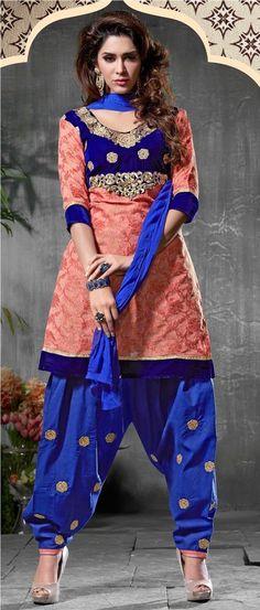 Peach Wedding Designer Neck Embroidery Punjabi Salwar Kameez Suit #SareeStudio #SalwarStyle #WeddingWear