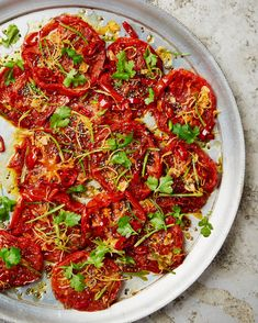Yotam Ottolenghi's grilled beef tomatoes with chilli, garlic and ginger Yotam Ottolenghi, Ottolenghi Recipes, Vegetable Dishes, Vegetable Recipes, Vegetarian Recipes, Healthy Recipes, Grilled Tomatoes, Grilled Vegetables, Grilled Beef