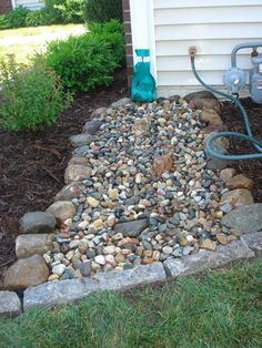 Search this important graphic in order to look into the shown critical information on Home Landscaping Ideas Home Landscaping, Landscaping With Rocks, Front Yard Landscaping, Dry Riverbed Landscaping, Gutter Drainage, Yard Drainage, Rock Flower Beds, Front Yard Decor, Dry Creek Bed