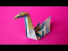 Geldschein falten Schwan: Ideen zum Geldgeschenke basteln - Origami Tier falten mit Geld - YouTube