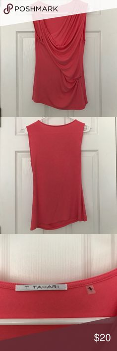 Pink asymmetrical elie tahari blouse Great condition! No damage. Very very slight pill or two around the armpit, but not noticeable at all. Perfect shirt for summer days or work! Elie Tahari Tops Blouses