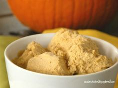 Pumpkin coconut ice cream for Fall! Jenn, when you told me about the ice cream you made yesterday, I was going to ask you to make it pumpkin! Paleo Ice Cream, Low Carb Ice Cream, Homemade Ice Cream, Ice Cream Recipes, Coconut Recipes, Dairy Free Recipes, Real Food Recipes, Yummy Food, Gluten Free