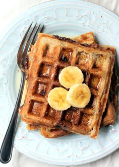 Whole Wheat Coconut Banana Waffles with dark chocolate & roasted almonds