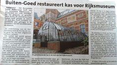 Buiten-Goed restaureert kas voor Rijksmuseum!