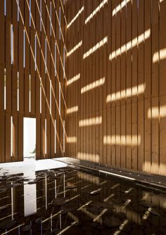 Juan Domingo Santos - Water Museum, located in a converted mill building, Granada Photos © Fernando Alda, Hisao Suzuki. Architecture Ombre, Shadow Architecture, Space Architecture, Timber Cladding, Cladding Ideas, Dappled Light, Building Design, Ontario, House Design