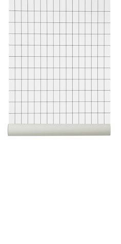 Ferm Living behang / wallpaper Grid Black & White / Zwart Wit
