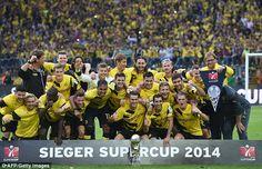 Borussia Dortmund-- celebrate after winning the German Super Cup 2014