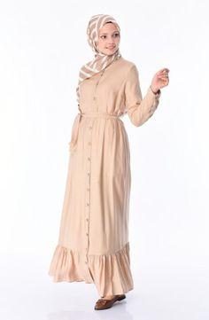 Sefamerve, Boydan Düğmeli Kuşaklı Elbise 1030-04 Bej Color Tag, Beige Dresses, Evening Dresses, Product Launch, Detail, Long Sleeve, Sleeves, Model