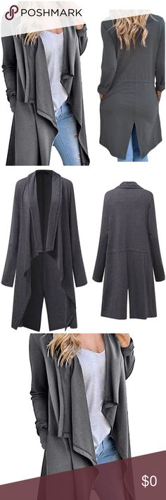 Open Front Cardigan Coat *Brand New *Side Pockets *Split Hem Jackets & Coats