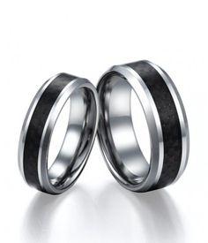 Couple's Black Carbon Fiber Inlay Tungsten Carbide Wedding Bands Set | Tungsten Carbide Rings 24HOUR SHIPPING
