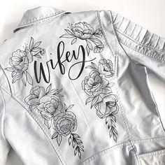 Painted Leather Jacket + Wedding Dress = Awesome ~ white jacket with gorgeous minimalist flowers by Alli K Design