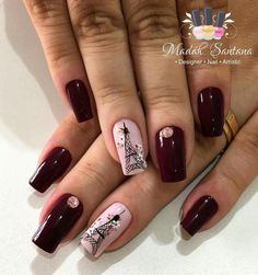 Rojos intensos Hot Nails, Pink Nails, Nail Saloon, Fall Nail Colors, Types Of Nails, Fancy Nails, Flower Nails, Nail Stamping, Nails Inspiration