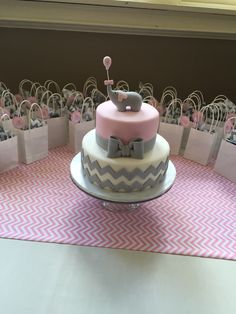 Pink and gray chevron elephant cake!