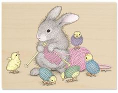 Stampabilities by Crafts, Etc! - HMOR1132 Will Knit For Friends Happy Hoppers Rubber Stamp