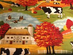 Fat Quarter  Quilting Fabric Cows in a Field by FatKatBoutique, $2.50. This Fat Quarter is just too pretty to be cut into small squares. It could be used for a pillow panel or a center panel in a quilt. The cows, the barns and the fall foliage remind me of drives my Husband and I take through the Country. I hope you can find a fond memory in this Fat Quarter too.