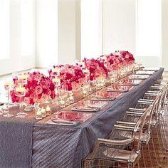 Pink flower centrepieces