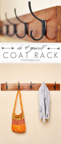 Learn how to make this DIY Coat Rack with just a few easy steps! Click for the full instructions