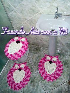 Jogo Coruja para banheiro em Crochê