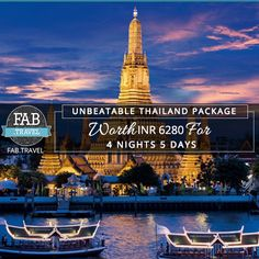 ‪#‎TravelFabulously‬ UNBEATABLE ‪#‎THAILAND‬ PACKAGE Hold Fast to your Dreams Worth INR 6280/- for 5 Days & 4 Nights Places to Travel: ‪#‎Bangkok‬, ‪#‎Pattaya‬, ‪#‎CoralIsland‬ Note:- These are land only deals, Airfares and Visa is extra Get the free quote online at www.fab.travel