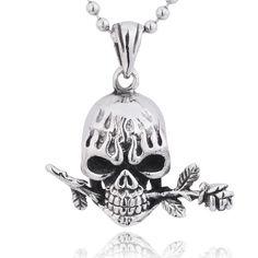 Punk Flame Skull Bite a Rose Titanium Pendant