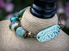 Artisan Bracelet Vintaj Natural Brass Art Beads by seashoreglass, $48.00