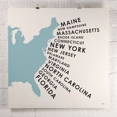 East Coast States Print Blue, now featured on Fab.