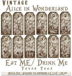Free printable drink me eat me labels single downloads or a alice in wonderland vintage eat me drink tea party favor gift tags pronofoot35fo Gallery