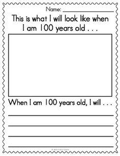 Day of School Writing Kindergarten Crafts, Kindergarten Writing, Writing Activities, Classroom Activities, Classroom Ideas, Literacy, Preschool, 100th Day Of School Crafts, 100 Days Of School