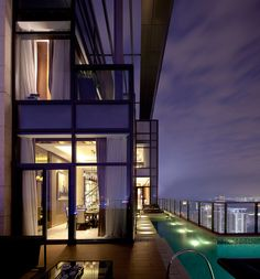 Steve Leung Designed Penthouse with balcony swimming pool! Exterior Design, Interior And Exterior, Luxury Penthouse, Dream Pools, City Living, Pent House, Beautiful Space, House Rooms, Luxury Living