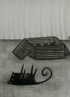 Original aceo BOX OF KITTENS Black Cat Cat Art Miniature