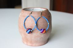 Blue Boho hoop earrings with textile bead by KusiPeru on Etsy, $9.00