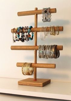 Original hanger bracelets display jewelry... Bracelet Organizer, Bracelet Holders, Diy Bracelet, Bracelet Storage, Necklace Holder, Beaded Bracelets, Wood Bracelet, Baby Headband Holders, Baby Headbands