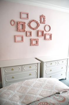 Two Dressers in Girls Shared Room with Empty Frame Wall Display Kid Rooms, Little Girl Rooms, Frame Wall Decor, Frames On Wall, Sibling Room, Pink Desk, Floating Desk, Space Projects, Project Nursery