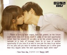 Reply 1997 was good, I could really relate to the plot/storyline. Best/most meaningful quote from this drama( in my own personal opinion). Watch Korean Drama, Korean Drama Quotes, Answer Me 1997, Reply 1997, Seo In Guk, Weightlifting Fairy, Get To Know Me, Drama Series, Meaningful Quotes