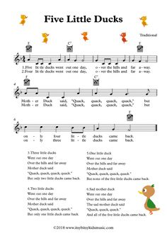 Five Little Ducks Sheet Music With Chords And Lyrics Music Nursery, Nursery Rhymes Lyrics, Nursery Songs, Kindergarten Songs, Preschool Music, Teaching Music, Ukulele Songs, Piano Songs, Music Songs