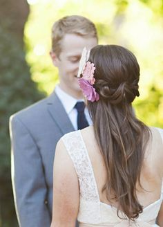 Wedding hairstyle beautiful floral jewelry