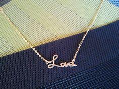 Love Script charm Necklace,  , charm, pendant, lariat, wedding, necklace,. $22.00, via Etsy.