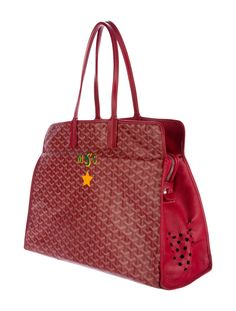 Red and multicolor hand-painted Goyardine coated canvas Goyard Sac Hardy Pet Carrier with silver-tone hardware, leather trim, dual flat shoulder straps, 'MSS' motif at front, beige canvas lining, matching pouch with snap closure and zip closure at top. Shop authentic designer handbags by Goyard at The RealReal.
