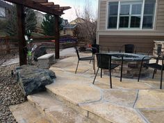 Flagstone Patio and Outdoor Living Space Flagstone Patio, Landscape Services, Outdoor Living, Outdoor Decor, Living Spaces, Snow, Home Decor, Outdoor Life, Decoration Home