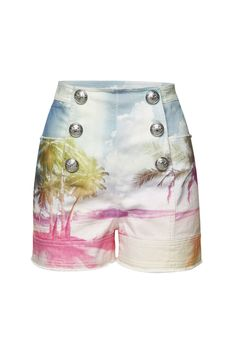 Balmain - Printed Denim Shorts with Embossed Buttons - multicolored Denim Shorts Outfit, Lace Shorts, Casual Shorts, Pink Shorts, Balmain Collection, Printed Denim, Online Clothing Stores, Frame Denim