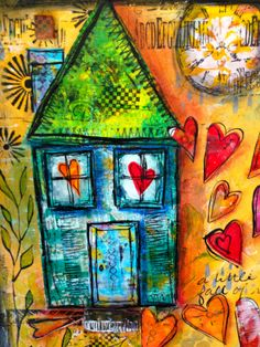 Made with acrylics, polymer clay, gelli plate paper collaged house and hearts, stamping, scribbling, love.