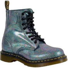 Dr. Martens Iridescent Pascal Women's Combat Boot ($125) ❤ liked on Polyvore featuring shoes, boots, grey, real leather boots, combat booties, grey combat boots, holographic combat boots and lug sole boots