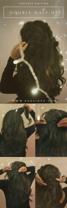 02 - Holiday Hair Tutorial - KASSINKA.COM Braided Hairstyles Tutorials, Cute Hairstyles, Stylish Hairstyles, Hair Tutorials, Double Braid, Magic Hair, Rapunzel Hair, Hair Locks, Hair Regrowth