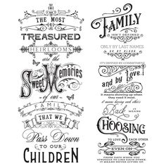 Family Heirlooms transfer by Redesign with Prima. x 3 sheets Prima Marketing, Wild West, Define Family, Real Milk Paint, Rub On Transfers, Stencils, Laurel, Wonder Quotes, Furniture Decor