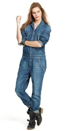 Women's Denim Jumpsuit from Denim & Supply: Our rugged Gaskin coverall is made from soft cotton and has been washed to give it the look of a timeworn favorite.