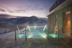 Boutique Hotel Villa Honegg Spa: indoor pool and outdoor pool with spa area, sea view and Alpine panorama, massage; Hotel Villa Honegg Switzerland, Switzerland Hotels, Stairway To Heaven, Villas, Blog Architecture, Moderne Pools, Prague Hotels, Das Hotel, Switzerland
