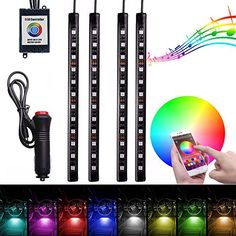 FICBOX 4pcs Multi-Color LED Car Interior APP Music Control RGB Underdash Neon Strip Lighting Kit. For product info go to:  https://www.caraccessoriesonlinemarket.com/ficbox-4pcs-multi-color-led-car-interior-app-music-control-rgb-underdash-neon-strip-lighting-kit/